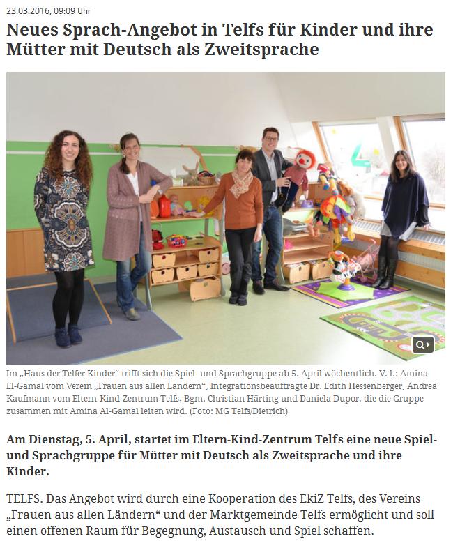 Telfs Spielgruppe Bezirksblatt