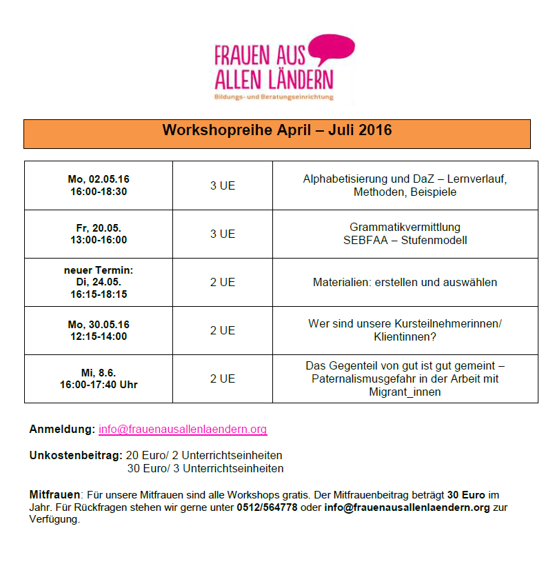Workshops April-Juni 2016